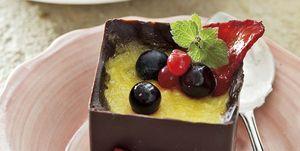 Crema de mango con chocolate