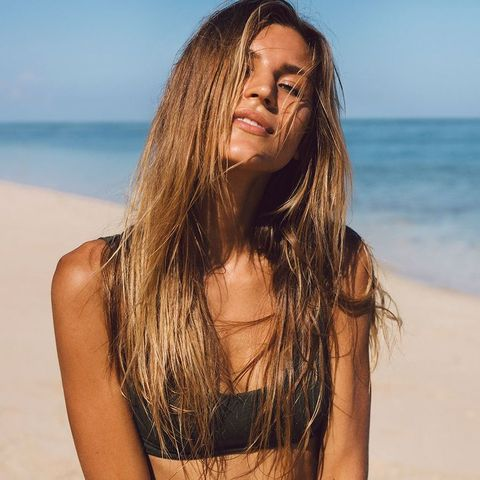 Hair, Long hair, Photograph, Hairstyle, Beauty, Model, Surfer hair, Brown hair, Bikini, Photo shoot,