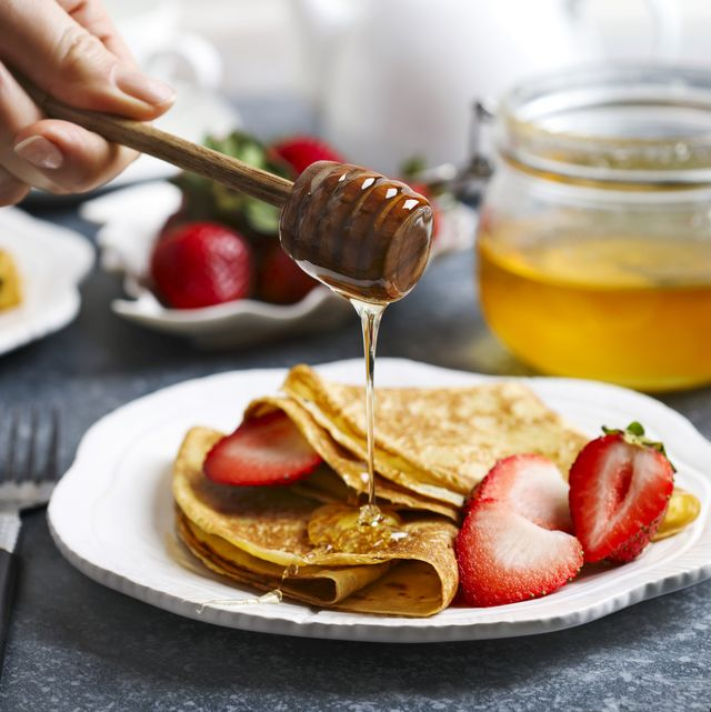 Crepes with strawberry and honey