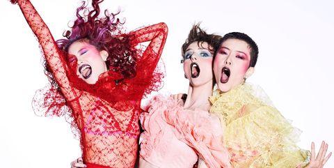 Red, Fashion, Fun, Photography, Gesture, Fashion design, Black hair, Flesh, Fictional character, Photo shoot,