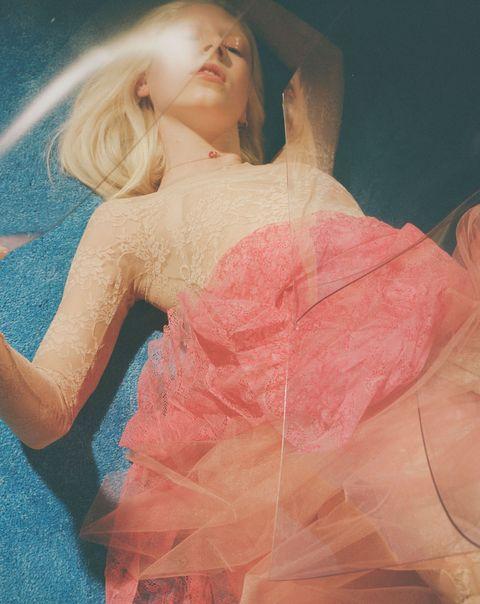 Pink, Beauty, Blond, Dress, Peach, Photography, Long hair, Photo shoot, Art,