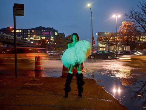 Water, Night, Lighting, Urban area, Street light, Pedestrian, Sky, Leg, Tree, Street,