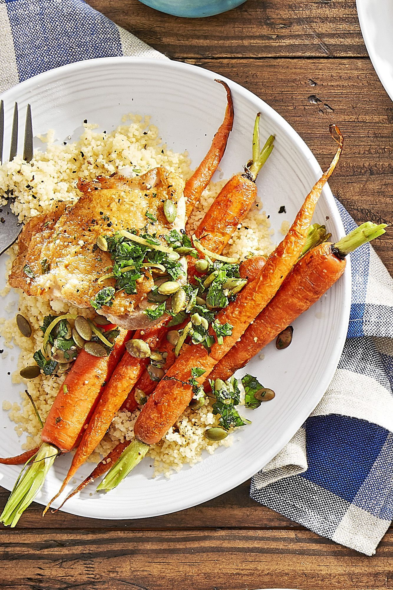 crispy chicken with roasted carrots and couscous