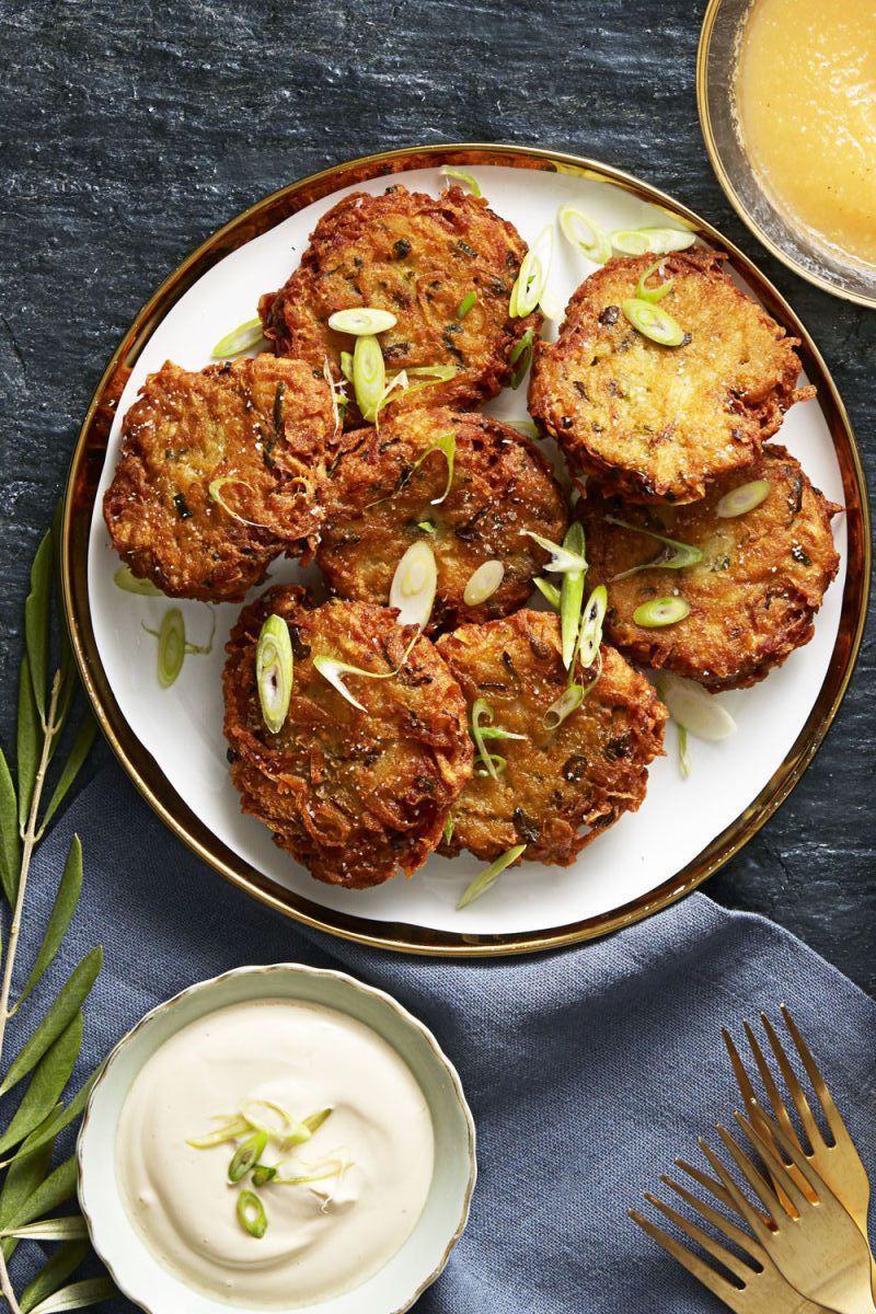 crispy ginger scallion latkes - hanukkah foods