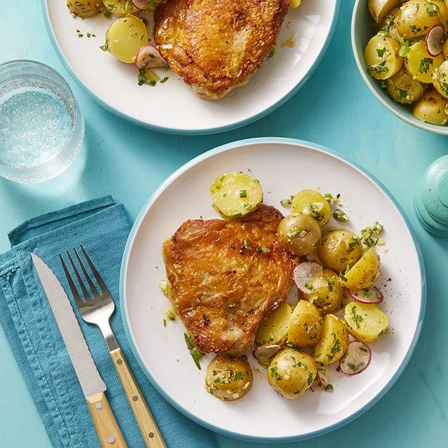 easy chicken dinner recipes-Crispy Mustard Chicken with Spring Potato Salad Recipe