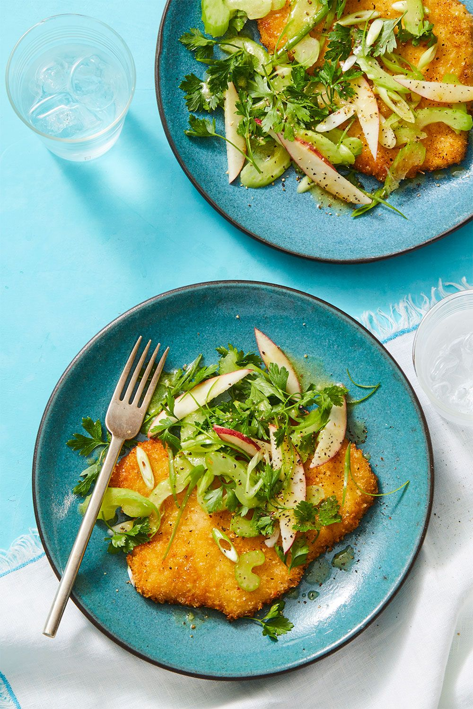 Crispy Pork Milanese with Apple-Ginger Salad
