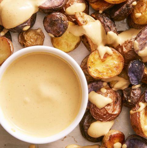 crispy potatoes with vegan nacho sauce - vegetarian super bowl recipes