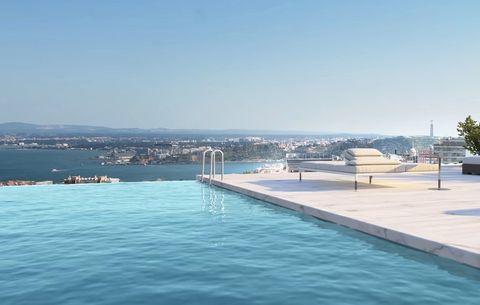 vista de la infinity pool del futbolista portugués en su nueva casa