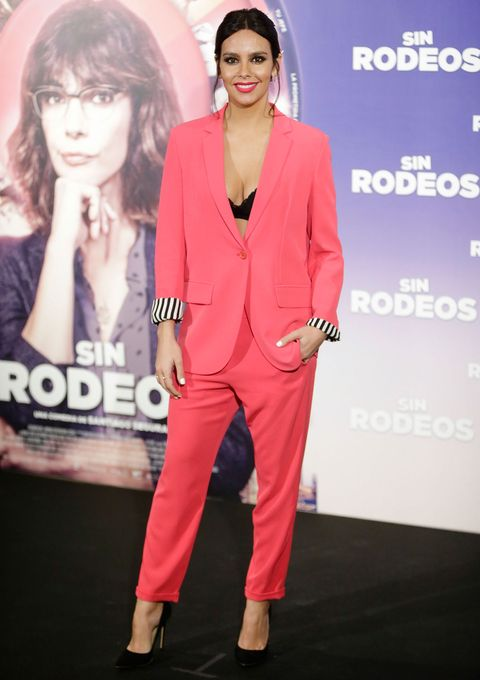 Clothing, Suit, Pink, Red, Pantsuit, Fashion, Formal wear, Outerwear, Magenta, Fashion model,