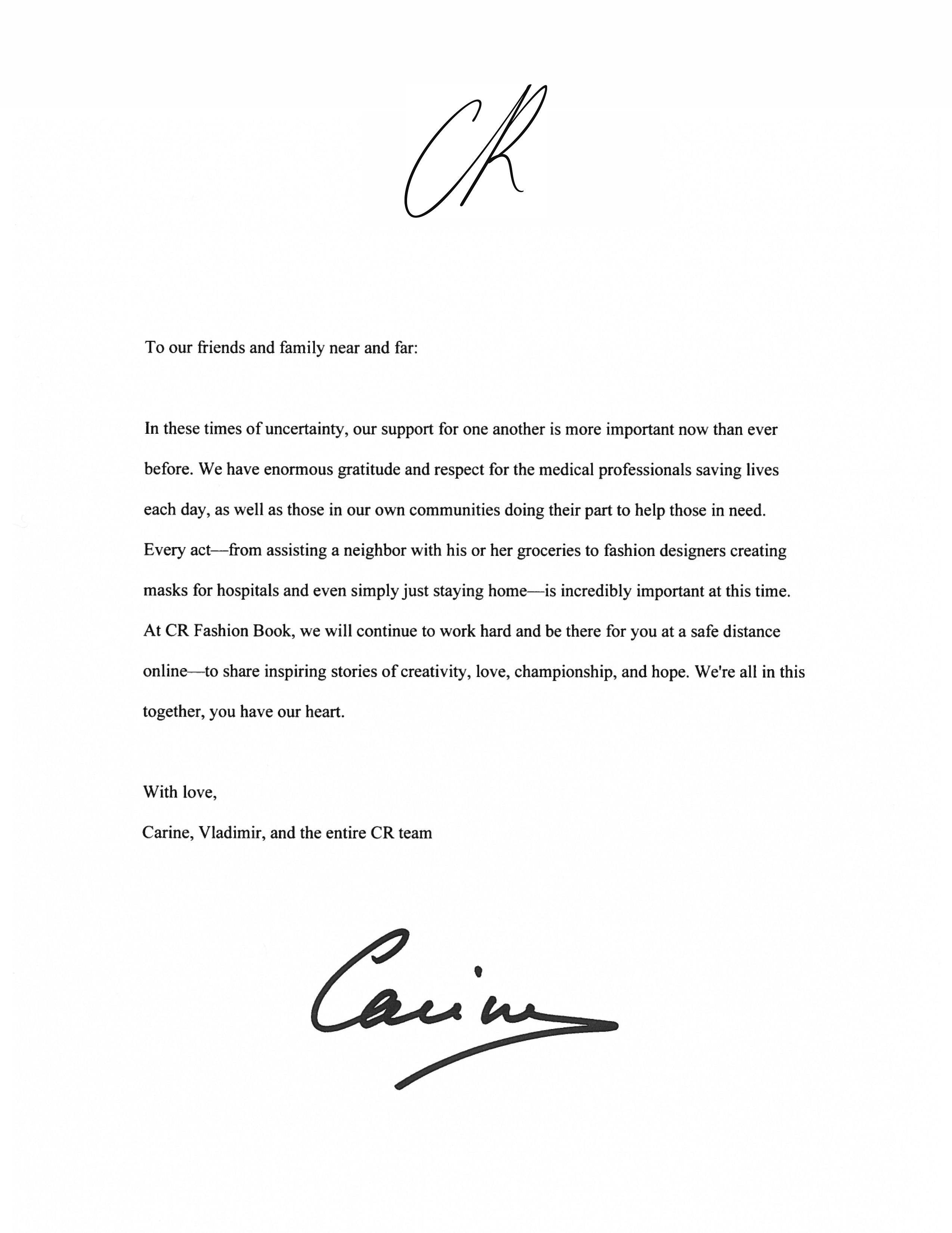 Carine Roifeld Covid 19 Corona Cr Fashion Book A Letter From Carine