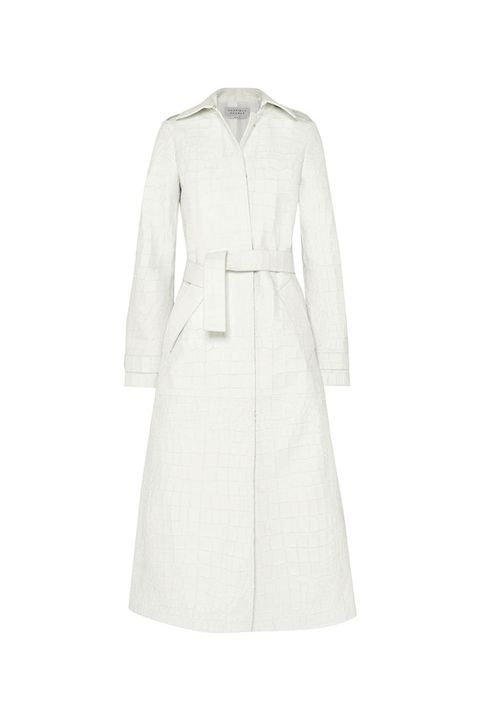 Clothing, Trench coat, Coat, White, Outerwear, Sleeve, Overcoat, Collar, Dress, Beige,