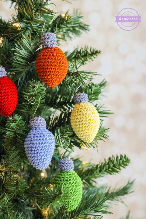 lights of Christmas ornaments at the crochet
