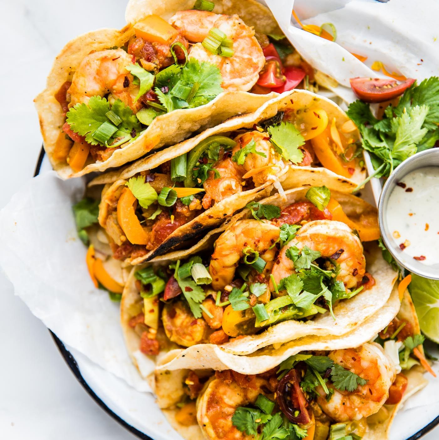 Easy Crock Pot Fire Roasted Tomato Shrimp Tacos Easy, breezy, beautifully light (see what I did there?)! This healthy take on tacos calls for tomatoes and bell peppers, making it a vitamin C fiesta in your mouth (and bod).