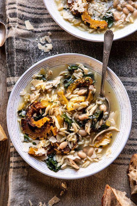 crockpot parmesan white bean chicken delicata squash soup