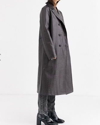 Clothing, Overcoat, Coat, Outerwear, Duster, Trench coat, Standing, Sleeve, Neck, Jacket,