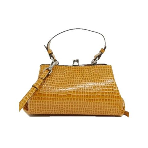 Handbag, Bag, Yellow, Shoulder bag, Fashion accessory, Tan, Beige, Kelly bag, Leather, Chain,