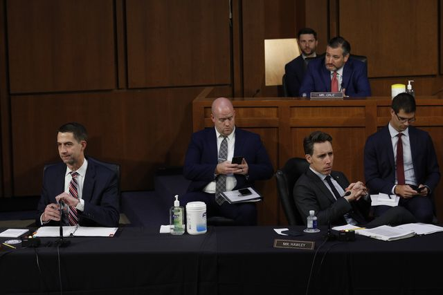 washington, dc   september 29 us sens tom cotton r ar, josh hawley r mo and ted cruz r tx are seated with staff members as they attend a senate judiciary committee hearing to examine texas's abortion law on capitol hill on september 29, 2021 in washington, dc photo by tom brenner poolgetty images