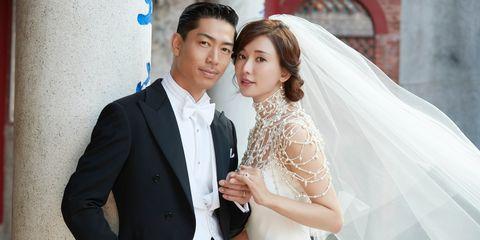 林志玲婚禮珠寶,一貫低調的奢華!這對櫻花珍珠耳環戴兩天,除了超大婚戒還有和Akira的鑽石對錶!
