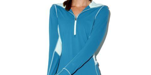 Blue, Collar, Sleeve, Shoulder, Standing, Electric blue, Neck, Azure, Aqua, Teal,
