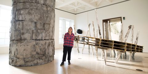 Phyllida Barlow, sculptor, at her new exhibition at Royal Academy of Arts, London