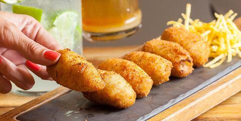 Dish, Food, Cuisine, Fried food, Ingredient, Fast food, Deep frying, Kushikatsu, Junk food, Korokke,