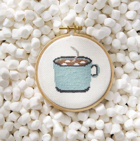 cross stitch mug of cocoa