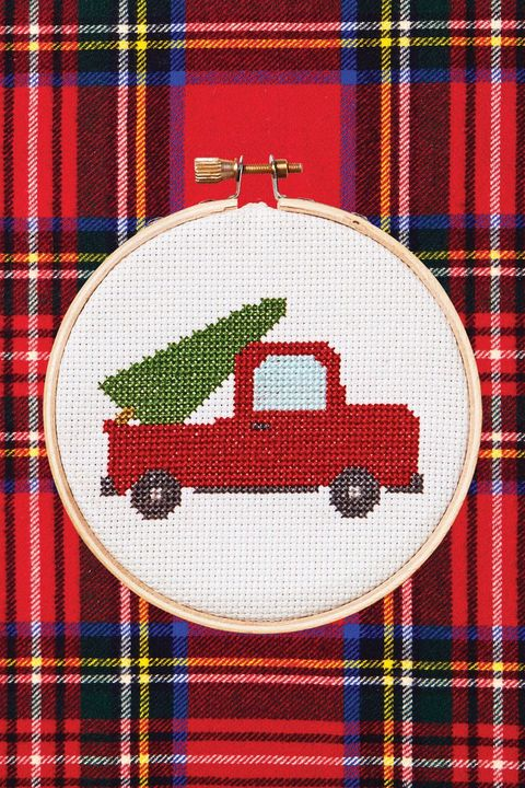 diy cross stitch truck gift idea
