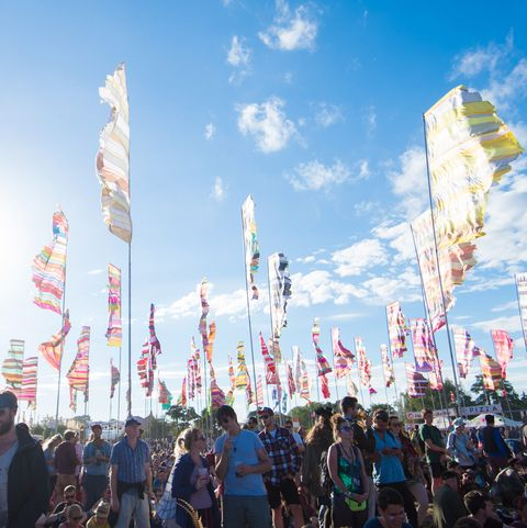 Crowds of people party at Glastonbury Festival 2017