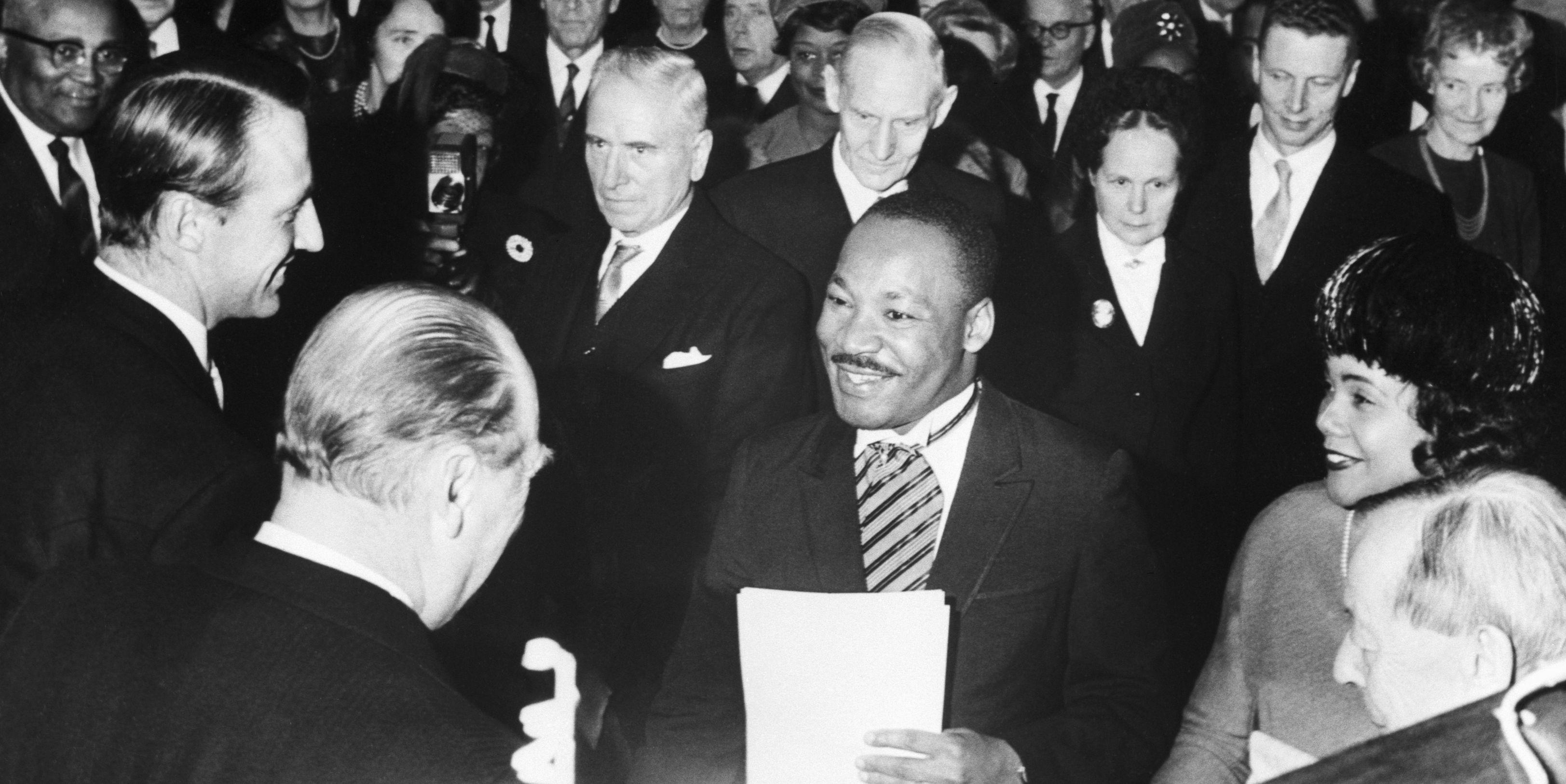 Martin Luther King Receiving Nobel Prize