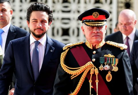 King Abdullah II, accompanied by Crown Prince Hussein bin Abdullah II
