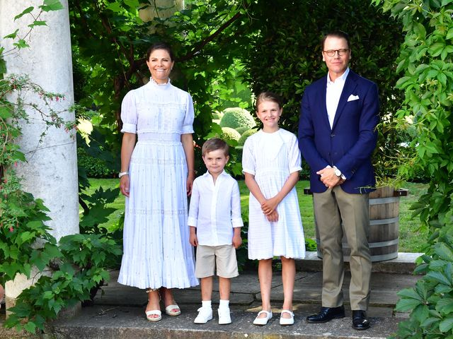 crown princess victoria, prince oscar, princess estelle, and prince daniel pose during crown princess victoria's birthday celebrations at solliden palace in borgholm, sweden