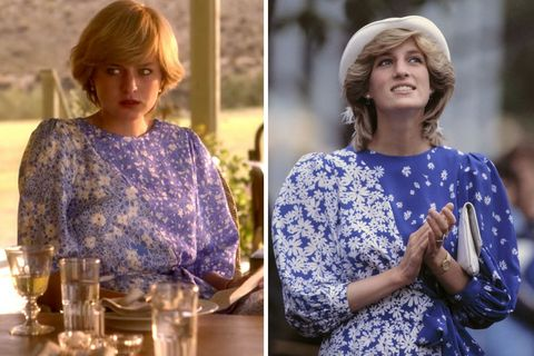 20 princess diana outfits in the crown season 4 compared to real life town country magazine