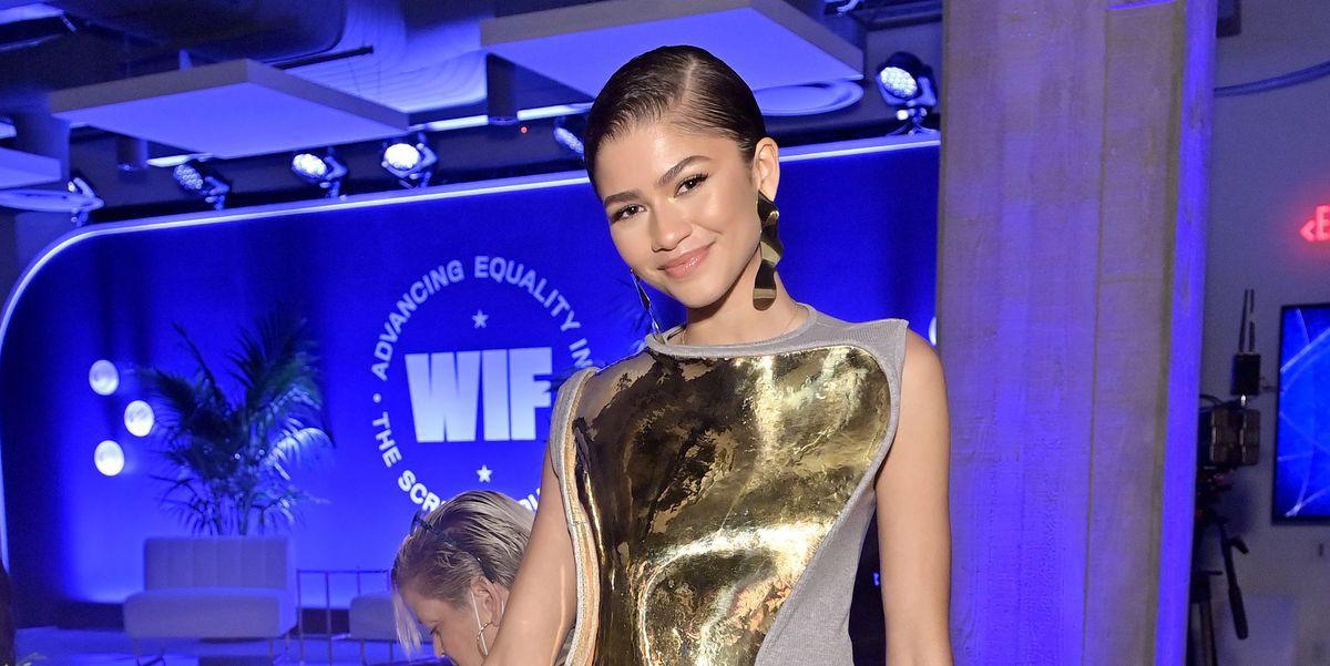 Zendaya Wears Gold Breastplate Loewe Dress at the WIF Honors