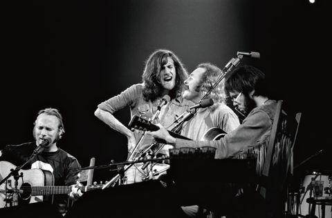 Rockers Stephen Stills, Graham Nash, David Crosby, and Neil Young commanding the Boston Garden stage in 1974.