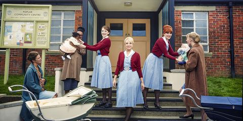 """Charlotte Ritchie, Helen George, and Emerald Fennell in """"Call the Midwife"""""""
