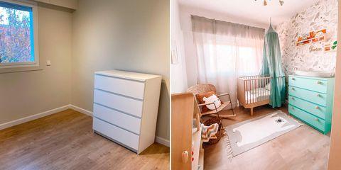 el cuarto del bebé antes y después