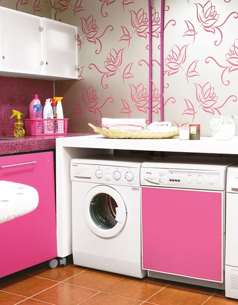 Pink, Major appliance, Room, Laundry room, Washing machine, Kitchen, Furniture, Laundry, Home appliance, Clothes dryer,
