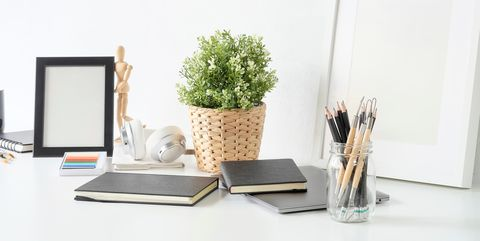 Furniture, Table, Desk, Room, Interior design, Design, Material property, Shelf, Plant, Flowerpot,