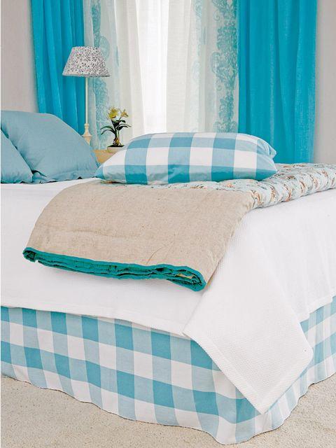 Aqua, Furniture, Bedroom, Bed sheet, Turquoise, Blue, Room, Green, Bedding, Bed,