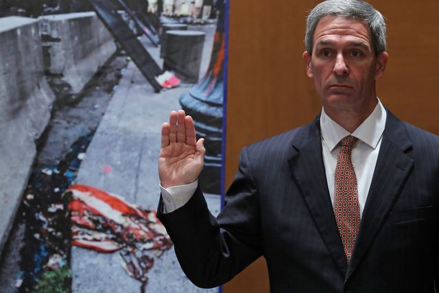 """washington, dc   august 04 acting deputy secretary of homeland security ken cuccinelli is sworn in before testifying to the senate judiciary committee's subcommittee on the constitution about """"anarchist violence"""" in the dirksen senate office building on capitol hill august 04, 2020 in washington, dc  against the wishes of state and local authorities, the department of homeland security sent additional federal law enforcement officers to portland, oregon, at the beginning of july to protect the federal courthouse there from attack by violent protesters actions by those he heavily militarized agents are under investigation after several incidents of possible abuse during those anti racism demonstrations photo by chip somodevillagetty images"""
