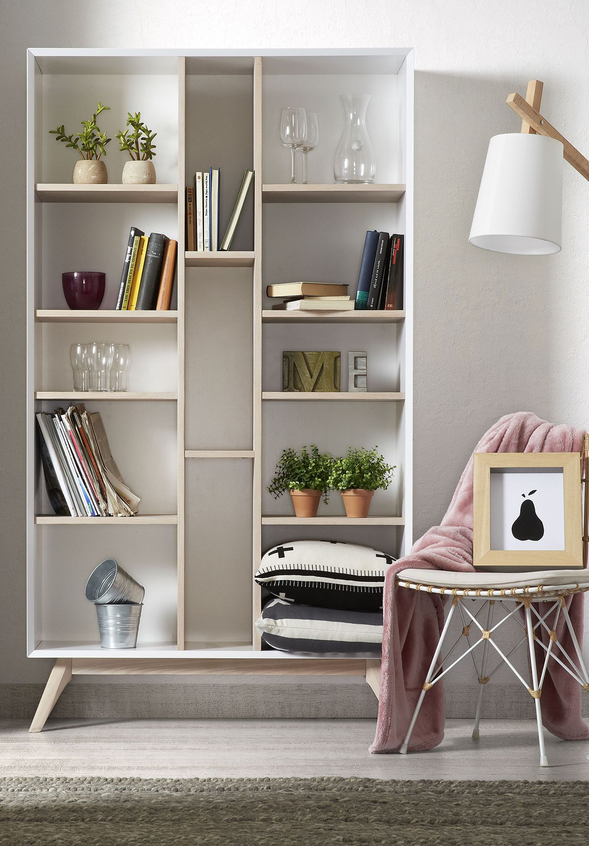 Quatre Wooden Bookcase in White & Ash, Cuckooland