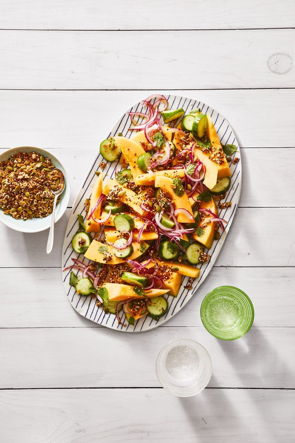Best Cucumber And Cantaloupe Salad With Savory Quinoa Granola Recipe How To Make Cucumber And Cantaloupe Salad With Savory Quinoa Granola The cantaloupe, rockmelon (australia and new zealand), sweet melon, or spanspek (south africa) is a melon that is a variety of the muskmelon species (cucumis melo) from the family cucurbitaceae. cucumber and cantaloupe salad with savory quinoa granola