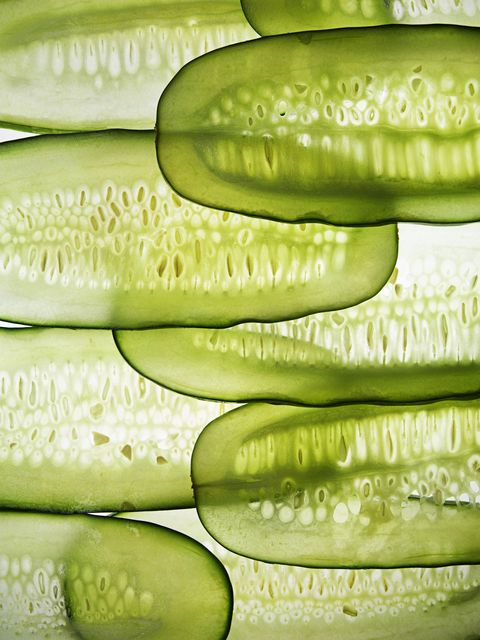cucumber slices in line
