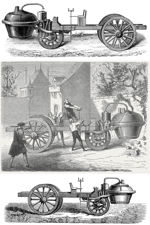 steam powered car   scanned 1870 engraving