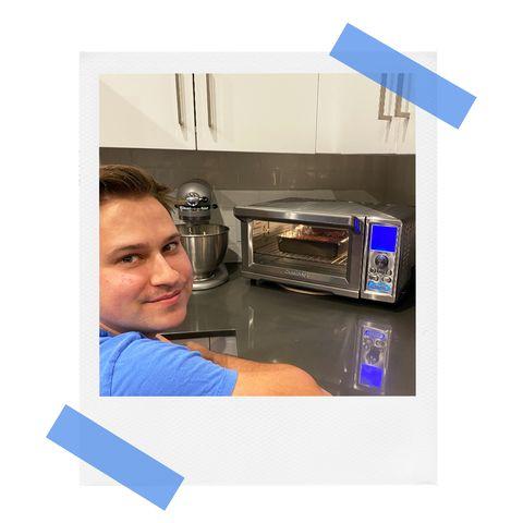 Brandon Carte baking brownies in Cuisinart toaster oven