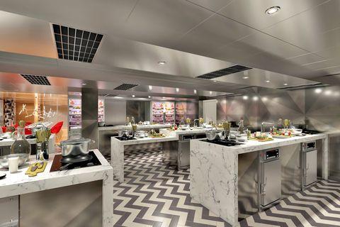 Interior design, Restaurant, Building, Property, Room, Ceiling, Floor, Table, Furniture, Architecture,
