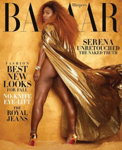 serena williams  posando con un vestido dorado y el culo al descubierto en la revista harper's bazaar