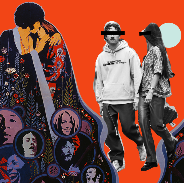 70s cult vibe collage with anonymous couple walking hand in hand