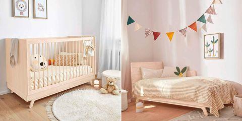 dormitorio infantil con cuna evolutiva a crecedera