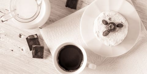 Cup of coffee with jug of milk , cake and chocolate